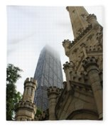 Water Tower And Hancock Fleece Blanket