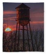 Water Tower Sunset Fleece Blanket