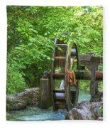 Water Wheel In The Woods Fleece Blanket