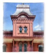 Waterbury Vermont Train Station Fleece Blanket
