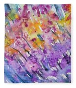 Watercolor - Abstract Flower Garden Fleece Blanket