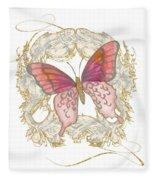 Watercolor Butterfly With Vintage Swirl Scroll Flourishes Fleece Blanket
