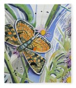 Watercolor - Checkerspot Butterfly With Wildflowers Fleece Blanket