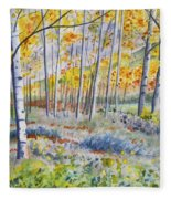 Watercolor - Colorado Autumn Forest And Landscape Fleece Blanket