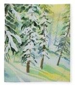 Watercolor - Colorado Winter Tranquility Fleece Blanket