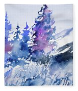 Watercolor - Colorado Winter Wonderland Fleece Blanket