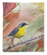 Watercolor - Common Yellowthroat Fleece Blanket