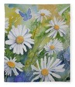 Watercolor - Daisies And Common Blue Butterflies Fleece Blanket