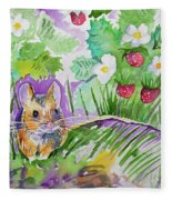Watercolor - Field Mouse With Wild Strawberries Fleece Blanket
