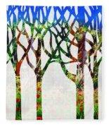 Watercolor Forest Silhouette Summer Fleece Blanket