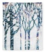Watercolor Forest Silhouette Winter Fleece Blanket