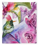 Watercolor - Frilled Coquette Hummingbird With Colorful Background Fleece Blanket