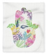Watercolor Garden Hamsa- Art By Linda Woods Fleece Blanket