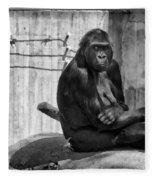 Watercolor Gorilla Fleece Blanket