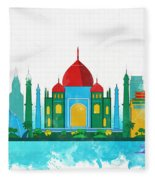 Watercolor Illustration Of Delhi Fleece Blanket