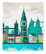 Watercolor Illustration Of London Fleece Blanket