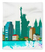 Watercolor Illustration Of New York Fleece Blanket