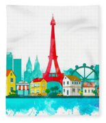 Watercolor Illustration Of Paris Fleece Blanket