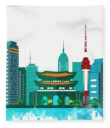 Watercolor Illustration Of Seoul Fleece Blanket