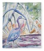 Watercolor - Little Blue Heron In Mangrove Forest Fleece Blanket