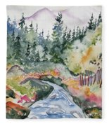 Watercolor - Long's Peak Autumn Landscape Fleece Blanket