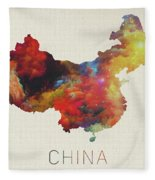 Watercolor Map Of China Fleece Blanket