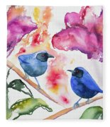 Watercolor - Masked Flowerpiercers With Flowers Fleece Blanket