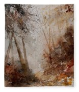Watercolor Misty Path Fleece Blanket