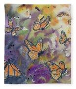 Watercolor- Monarchs In Flight Fleece Blanket
