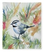 Watercolor - Mountain Chickadee And Pine Fleece Blanket
