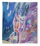 Watercolor - Mountain Goat With Young Fleece Blanket