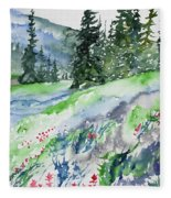 Watercolor - Mountain Pines And Indian Paintbrush Fleece Blanket