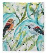 Watercolor - Ornate Antwren In The Bamboo Fleece Blanket