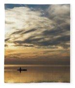 Watercolor Paddle - Kayaking Through A Glorious Silken Morning Fleece Blanket