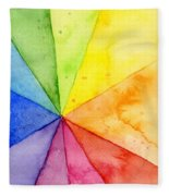 Watercolor Rainbow Beachball Pattern Fleece Blanket