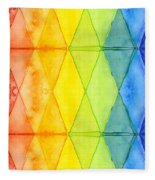 Watercolor Rainbow Pattern Geometric Shapes Triangles Fleece Blanket