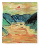 Watercolor River Scenery Fleece Blanket