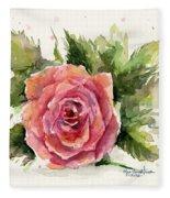 Watercolor Rose Fleece Blanket