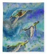Watercolor - Sea Turtles Swimming Fleece Blanket