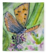 Watercolor - Small Butterfly On A Flower Fleece Blanket