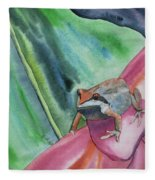 Watercolor - Small Tree Frog On A Colorful Flower Fleece Blanket