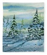 Watercolor - Snowy Winter Evening Fleece Blanket