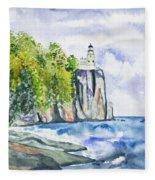 Watercolor - Split Rock Lighthouse Fleece Blanket