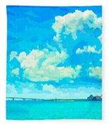 Watercolor Spring On Sarasota Bay Fleece Blanket