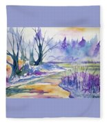 Watercolor - Stream And Forest Fleece Blanket