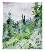 Watercolor - Summer In The Rockies Fleece Blanket