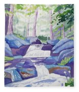 Watercolor - Summer Mountain Forest And Stream Fleece Blanket
