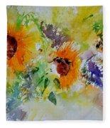 Watercolor Sunflowers Fleece Blanket