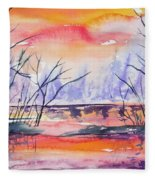 Watercolor - Sunrise At The Pond Fleece Blanket