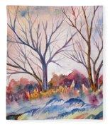 Watercolor - Trees And Woodland Meadow Fleece Blanket